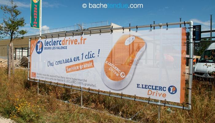 Panneau publicitaire mobile - chantier Leclerc Drive