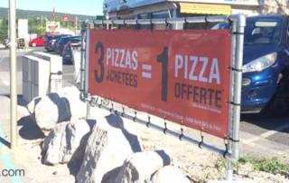 PROJET – Enseigne publicitaire extérieure en bache tendue - Pizzeria