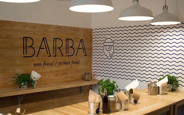 L'enseigne restaurant Barba - Packaging, goodies et supports publicitaires de restaurant